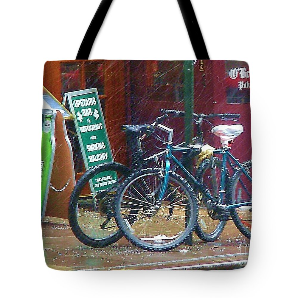 Bike Tote Bag featuring the photograph Give Me Shelter by Debbi Granruth