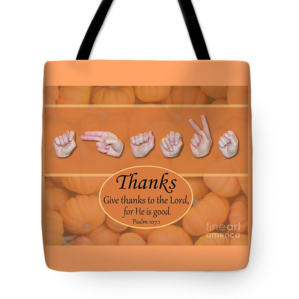 Christian Tote Bag featuring the photograph Give Thanks by Master's Hand Collection