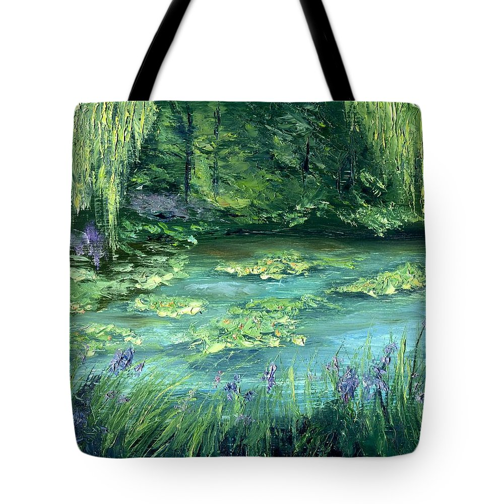 Giverny Tote Bag featuring the painting Giverny by Gail Kirtz