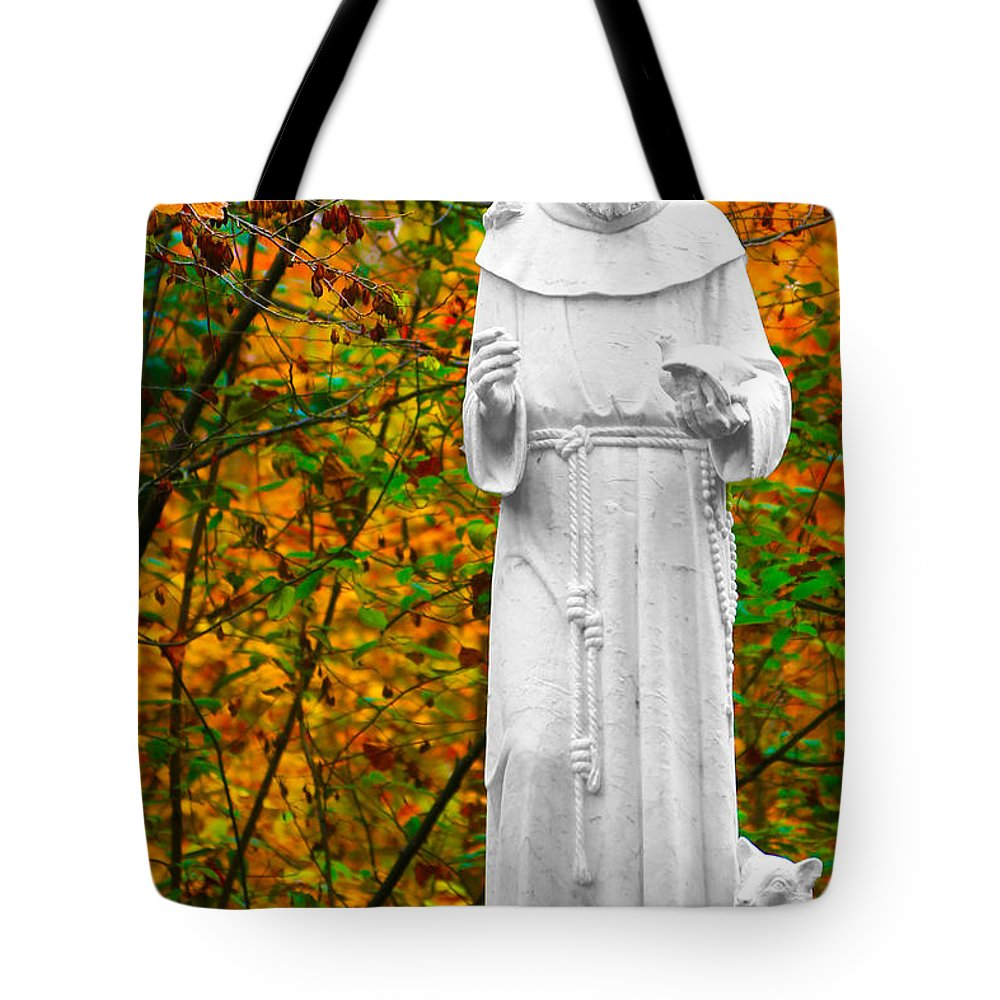 St. Francis Of Assisi Tote Bag featuring the photograph Giving by Mitch Cat
