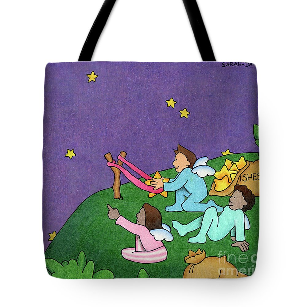 Angels Tote Bag featuring the drawing Giving Wishes Wings by Sarah Batalka