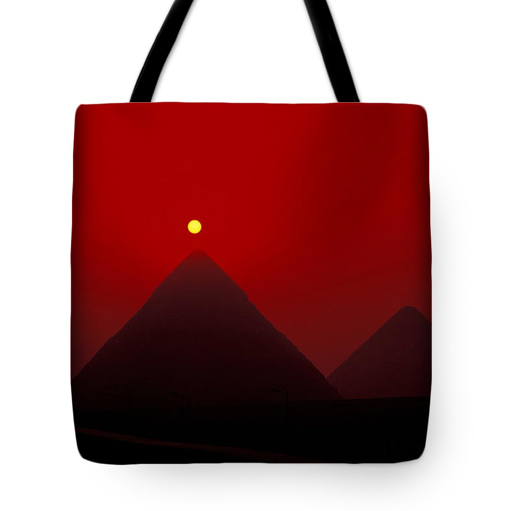 Pyramid Tote Bag featuring the photograph Giza Pyrmaids At Sunset In Egypt by Richard Nowitz