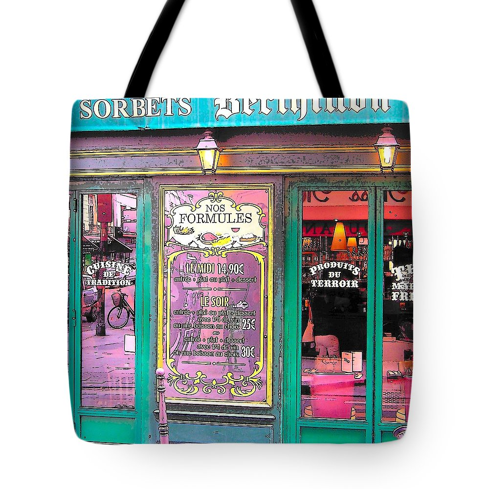 Paris Tote Bag featuring the photograph Glaces And Sorbets Berthillon by Jan Matson