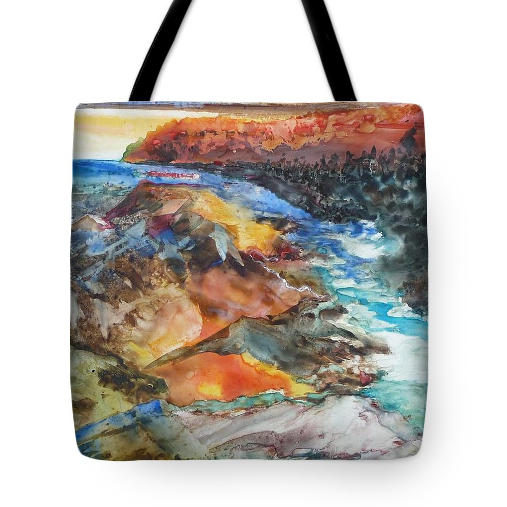 Abstract Tote Bag featuring the painting Glacial Meltdown by Ruth Kamenev