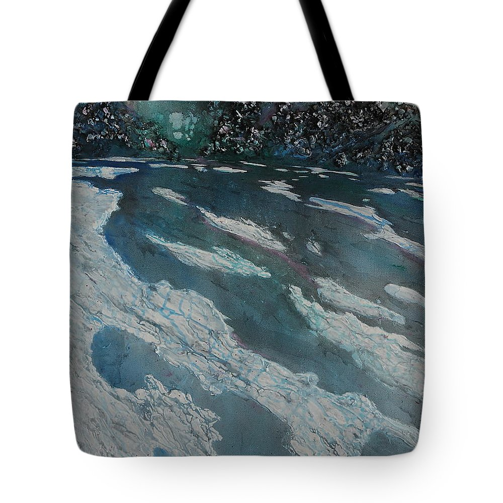 Ice Tote Bag featuring the painting Glacial Moraine by Ruth Kamenev