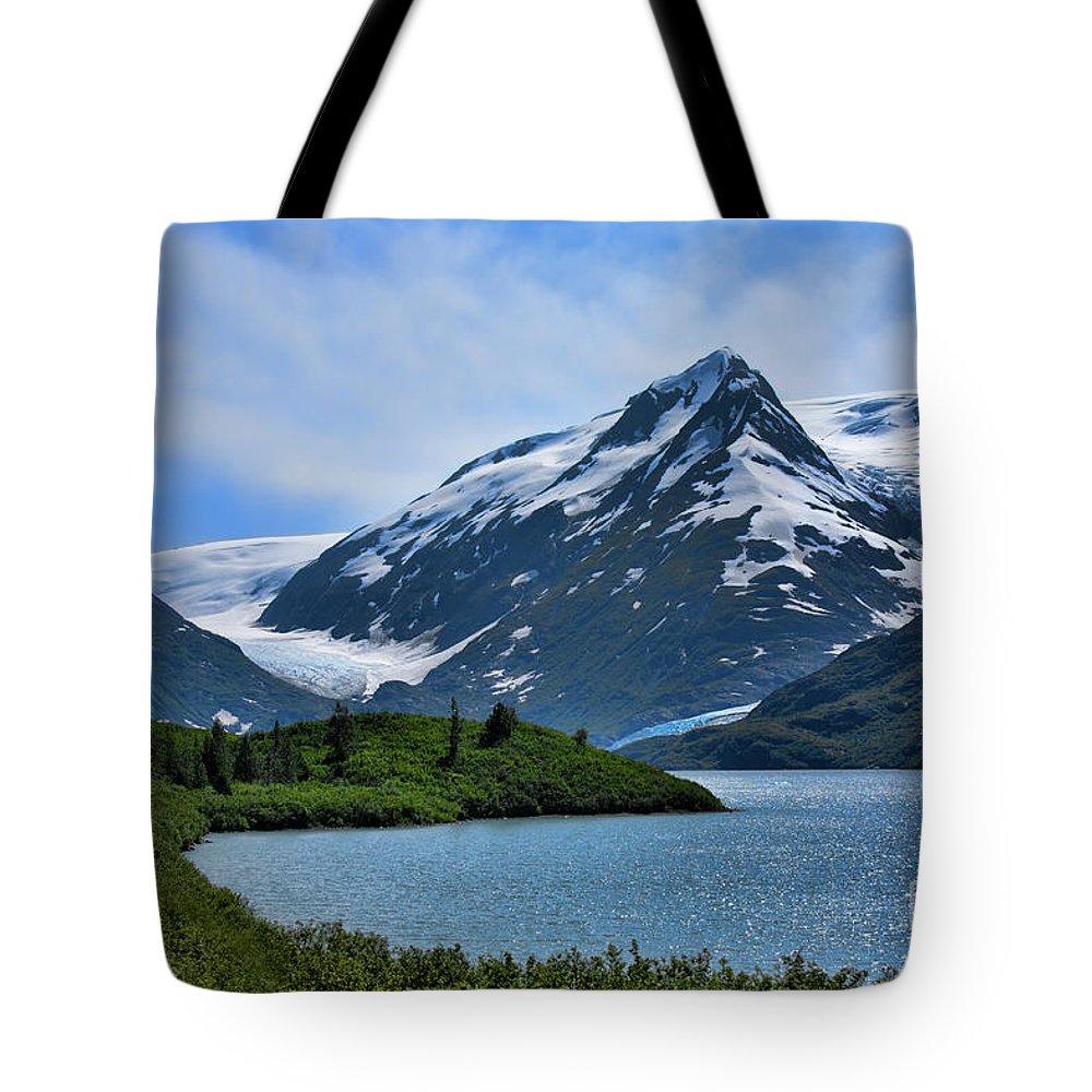 Alaska Tote Bag featuring the photograph Glacier Alaska Lake by Chuck Kuhn