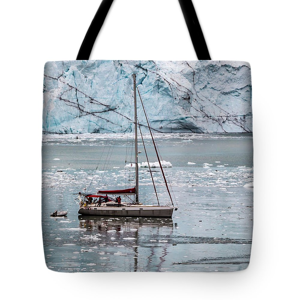 Frigid Tote Bag featuring the photograph Glacier Sailing by Ed Clark
