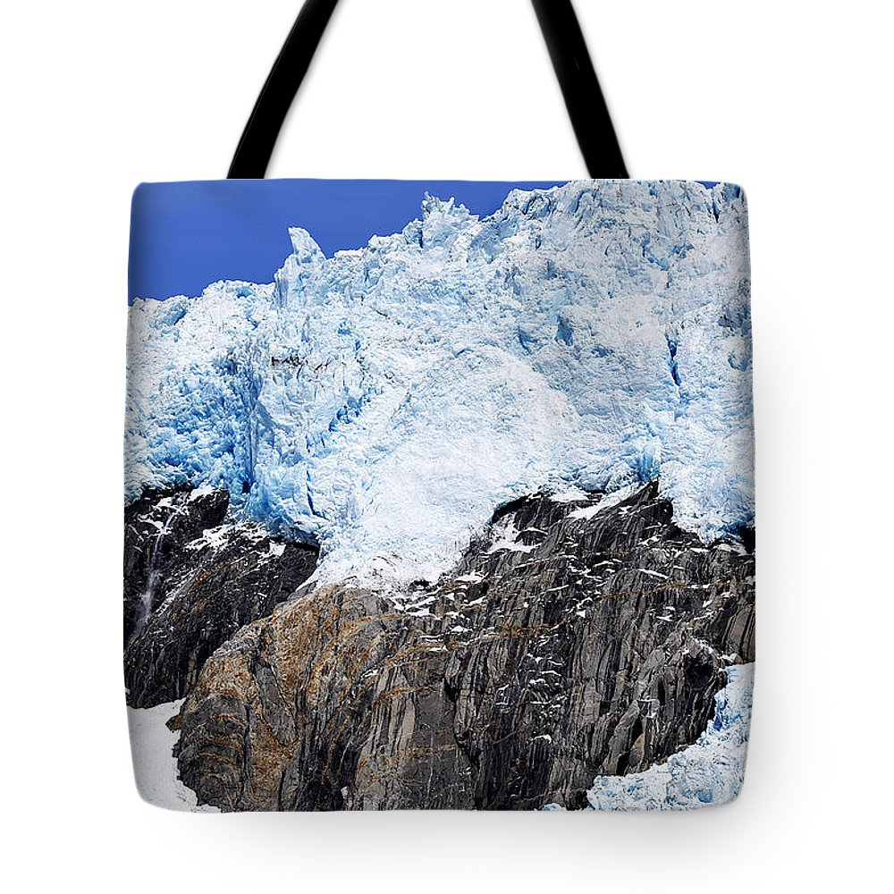 Diane Berry Tote Bag featuring the photograph Glacierblue by Diane E Berry
