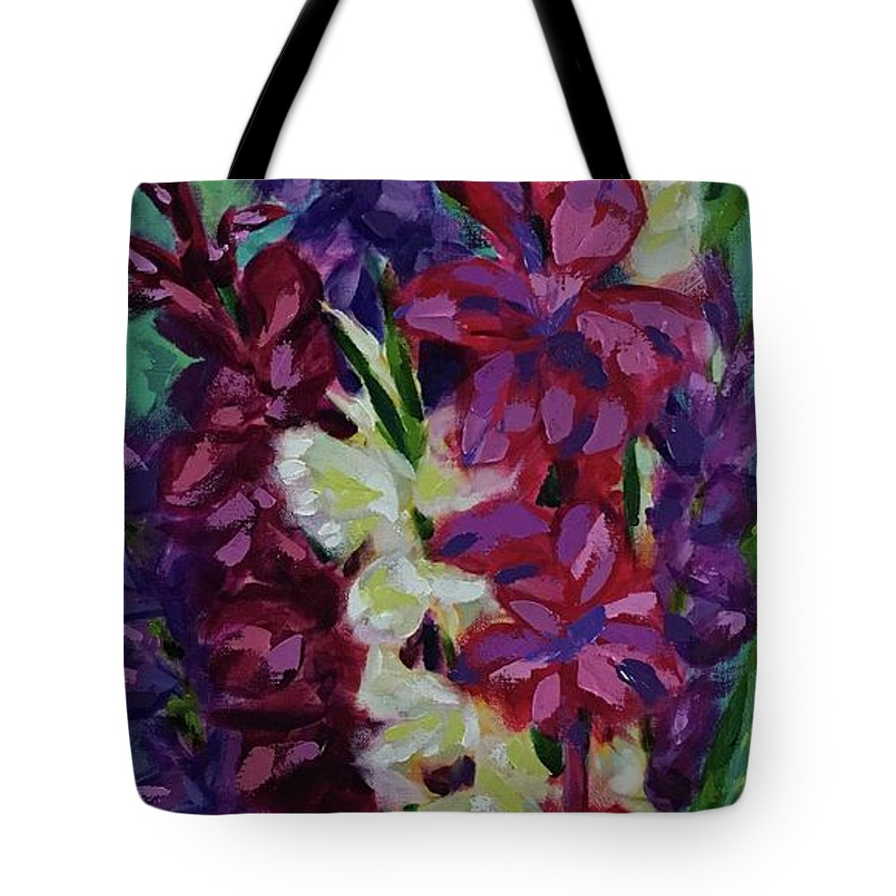 Gladiolas Tote Bag featuring the painting Glad To See You by Nancy Breiman