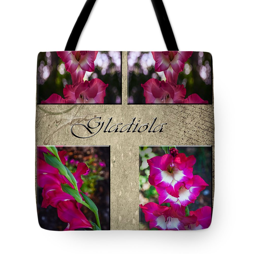 Purple Tote Bag featuring the photograph Gladiola Collage by Judy Hall-Folde
