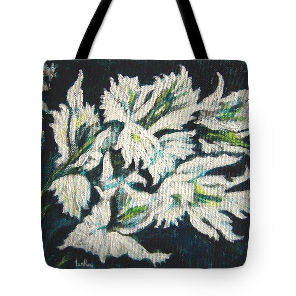 Gladioli Tote Bag featuring the painting Gladioli by Usha Shantharam