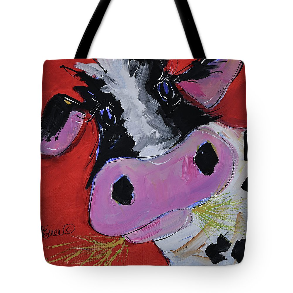Cow Tote Bag featuring the painting Gladys by Terri Einer