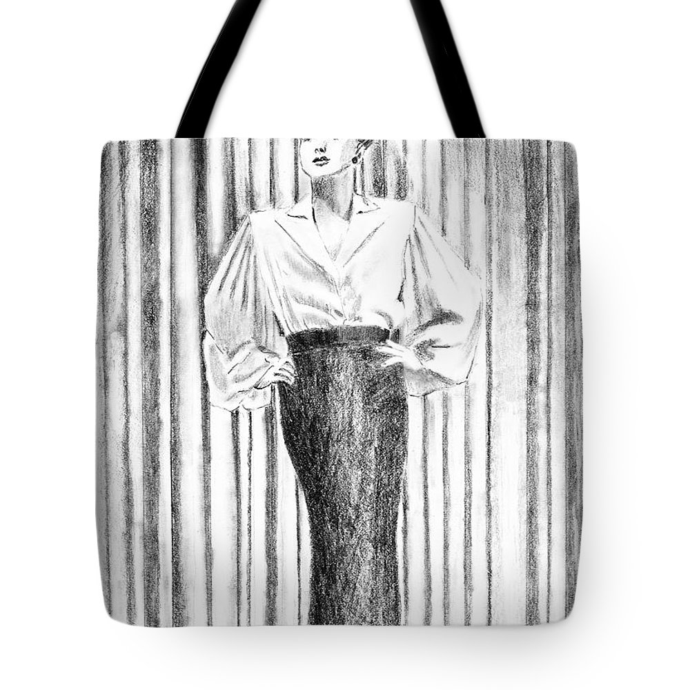 Woman Tote Bag featuring the drawing Glamour In The 30s by Arline Wagner