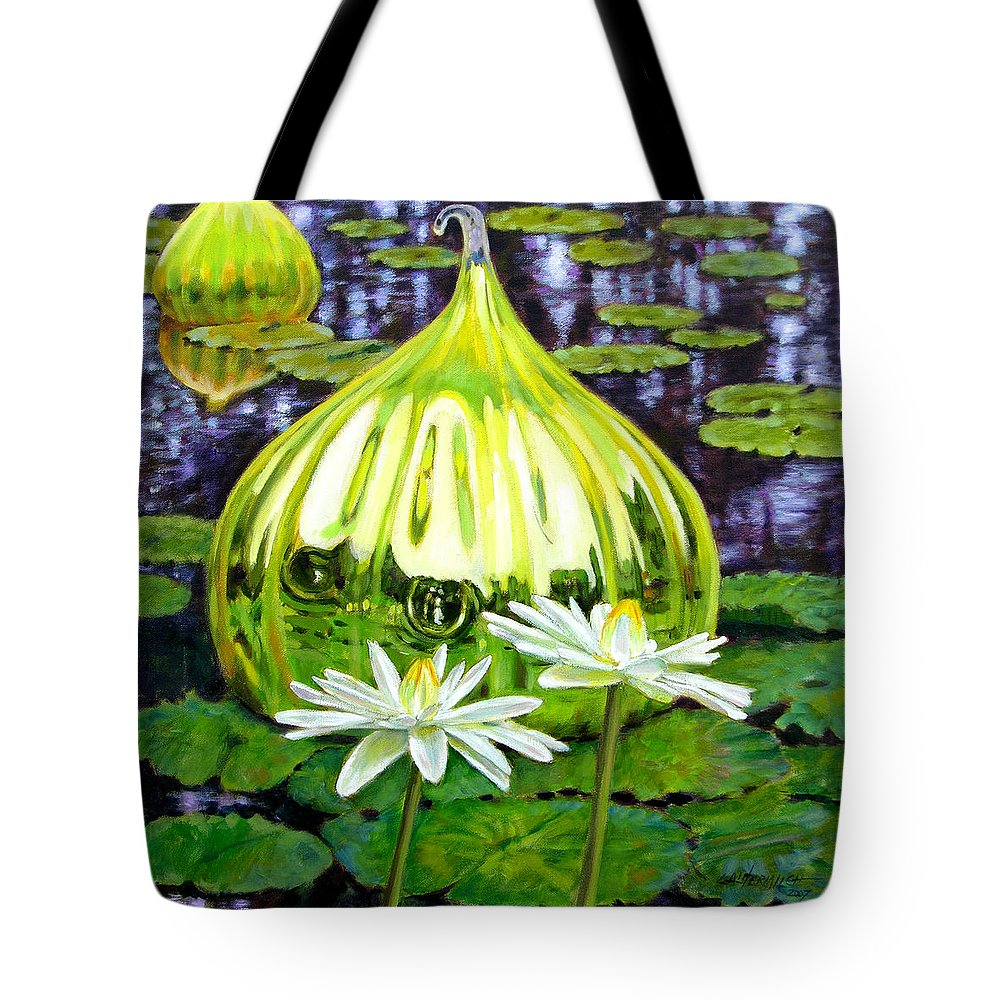 Water Lilies Tote Bag featuring the painting Glass Among The Lilies by John Lautermilch