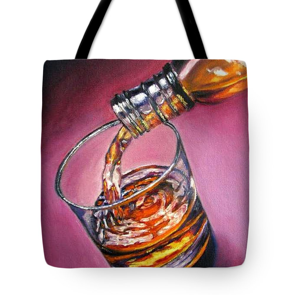 Glass Of Wine Tote Bag featuring the painting Glass Of Wine Original Oil Painting by Natalja Picugina