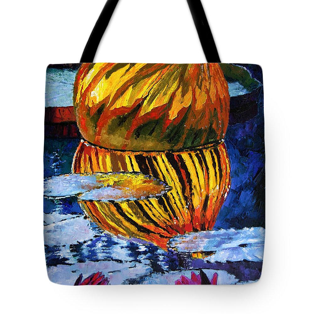 Blown Glass On Lily Pond Tote Bag featuring the painting Glass Reflections On Lily Pond by John Lautermilch
