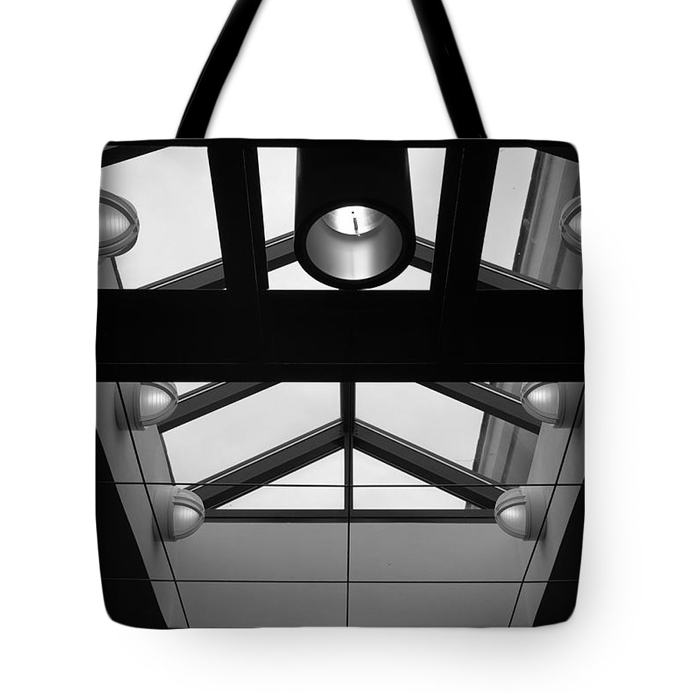 Black And White Tote Bag featuring the photograph Glass Sky Lights by Rob Hans