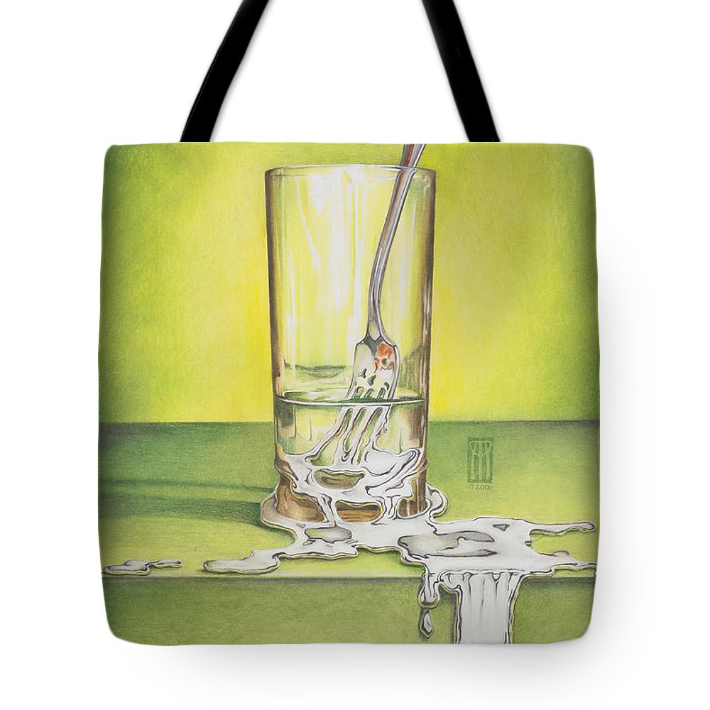 Bizarre Tote Bag featuring the painting Glass With Melting Fork by Melissa A Benson