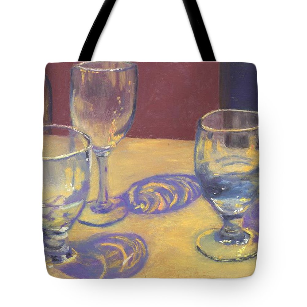 Glasses Tote Bag featuring the painting Glasslights by Sharon E Allen
