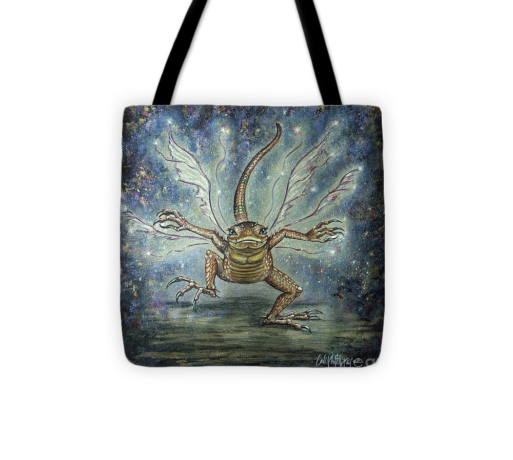 Fairy Tote Bag featuring the mixed media Glitterkin by Carol Phillips