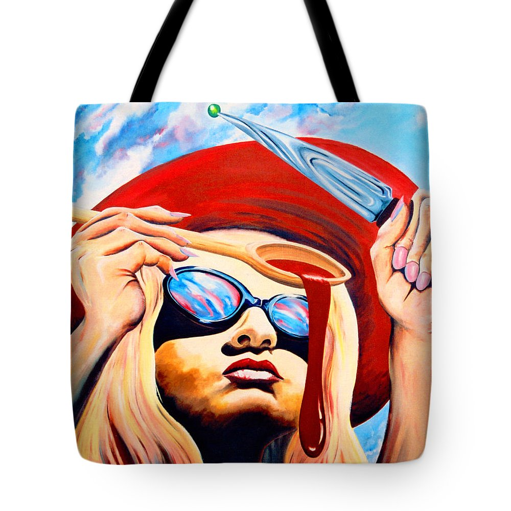 Surreal Tote Bag featuring the painting Global Food Distribution by Mark Cawood