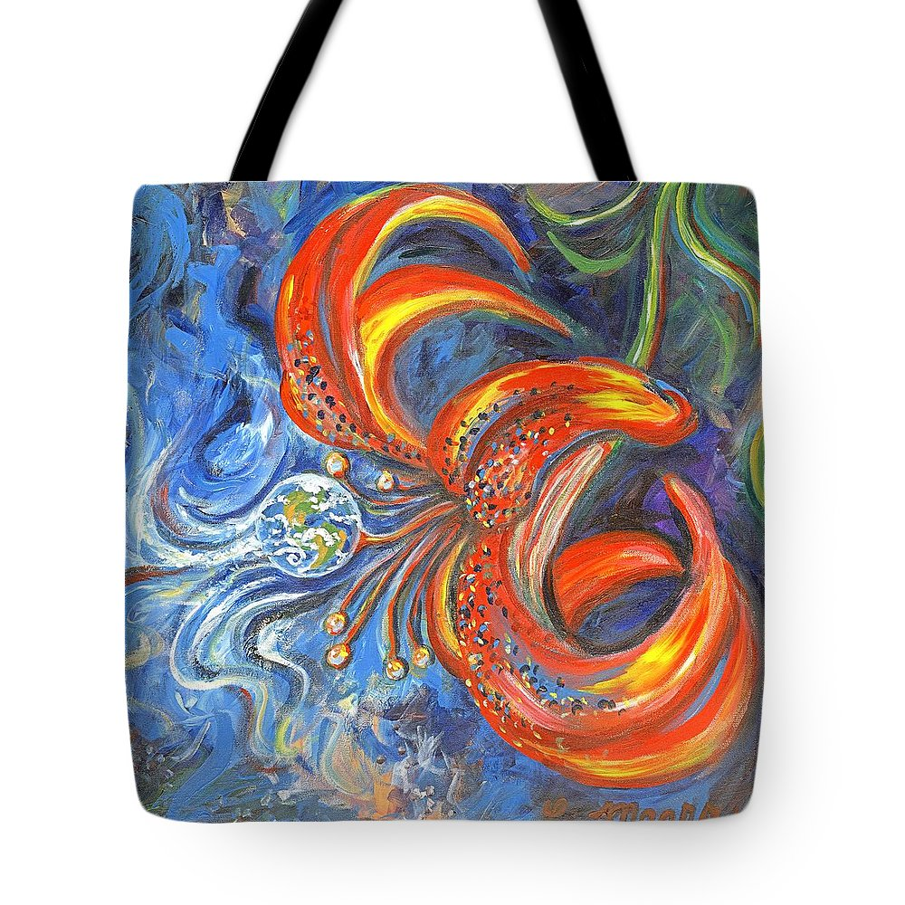 Flower Tote Bag featuring the painting Global Lily by Linda Mears