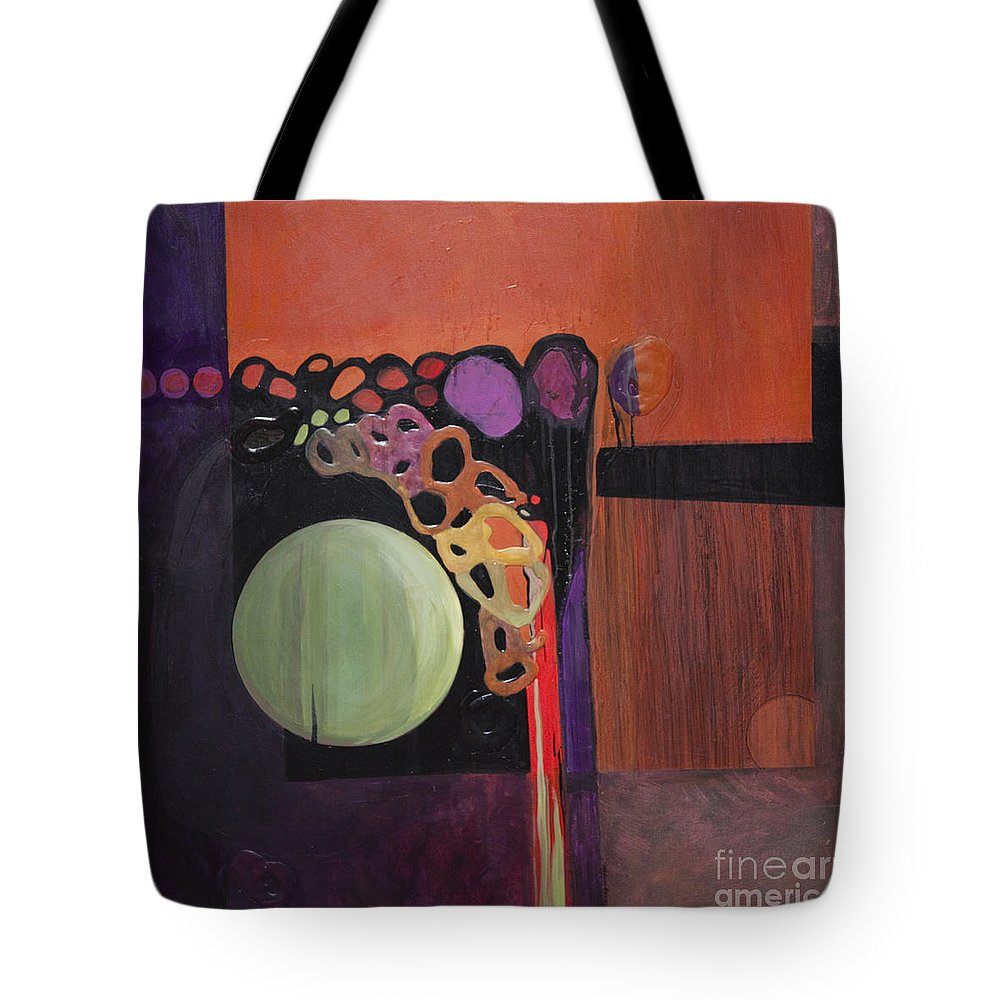 Abstract Tote Bag featuring the painting Globular by Marlene Burns
