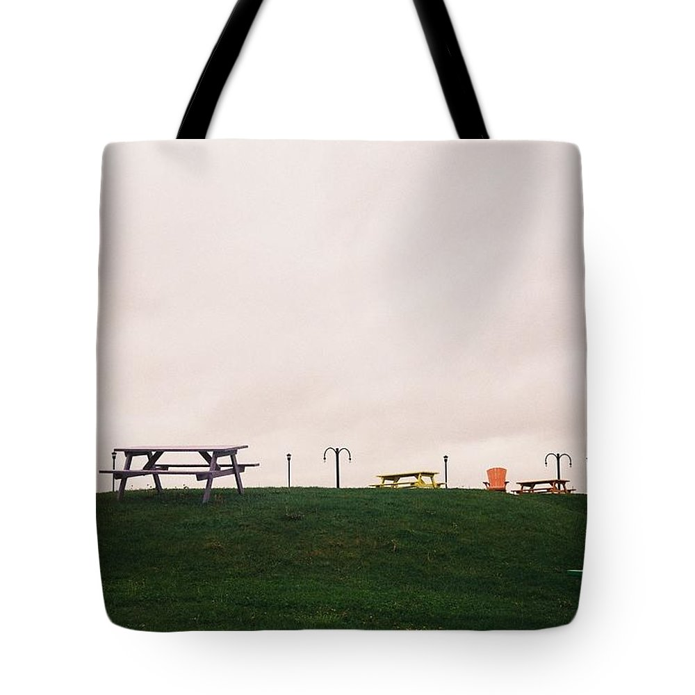 Bench Tote Bag featuring the photograph Gloomy Day by Helen Chen