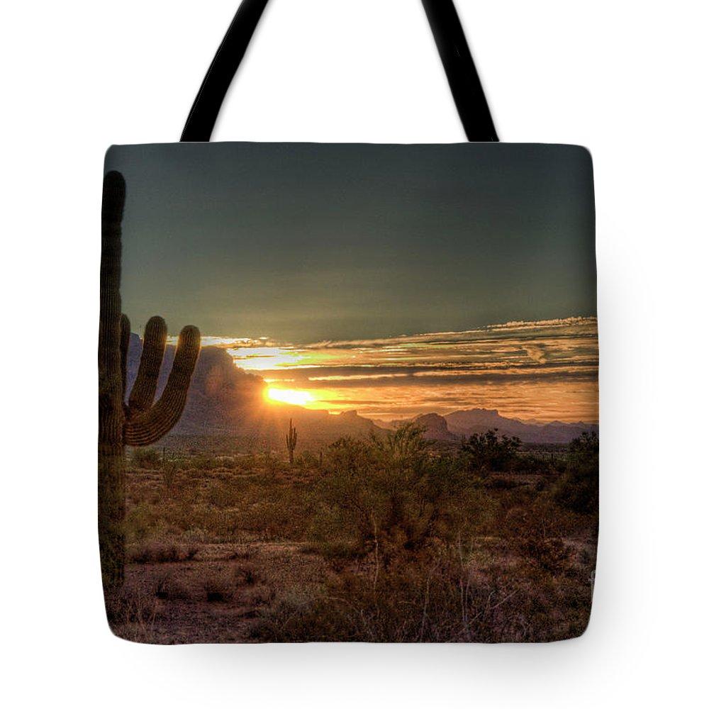 Arizona Tote Bag featuring the photograph Glorious Sunrise by Saija Lehtonen
