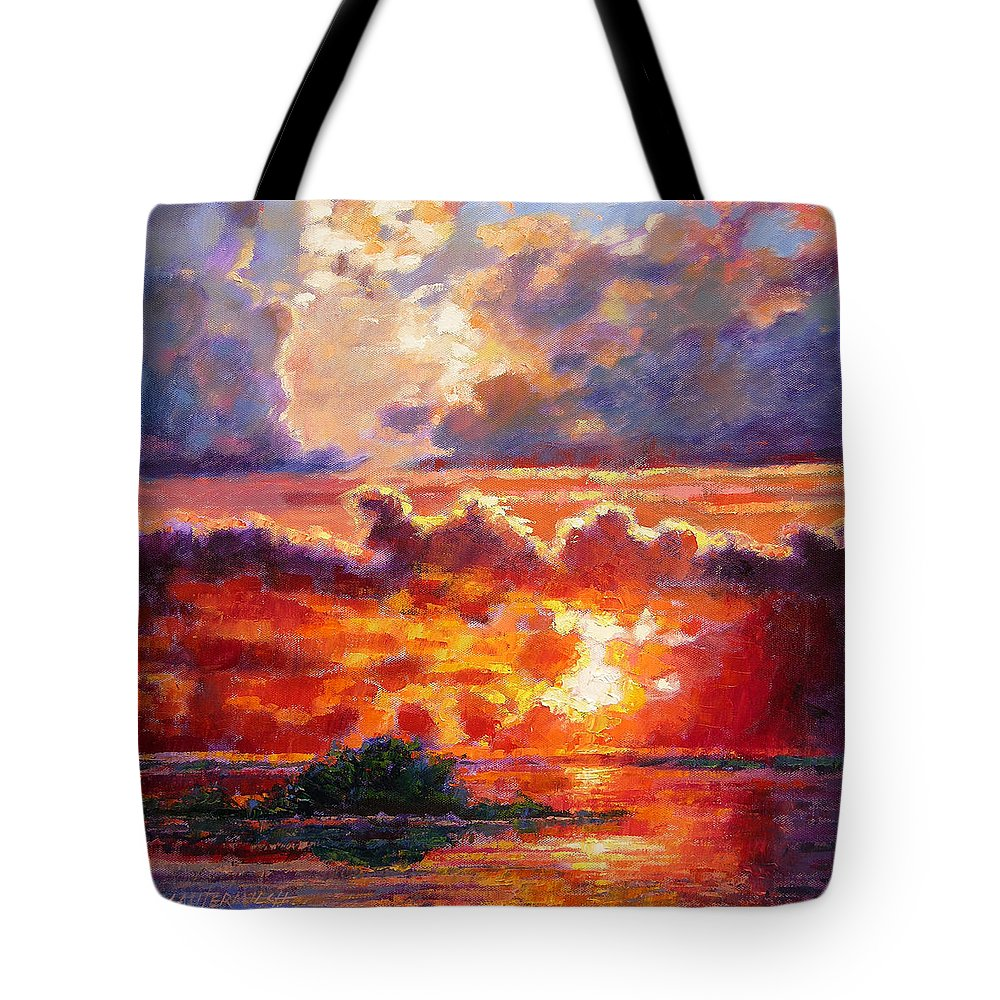 Sunset Tote Bag featuring the painting Glorious Sunset by John Lautermilch