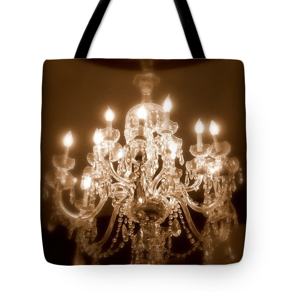 Chandelier Tote Bag featuring the photograph Glow From The Past by Karen Wiles