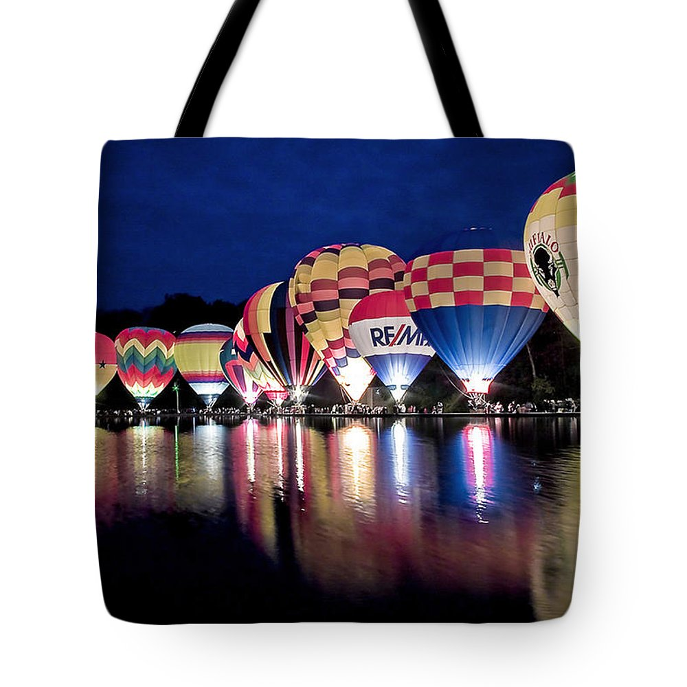 Hot Tote Bag featuring the photograph Glowing Balloons by Keith Allen