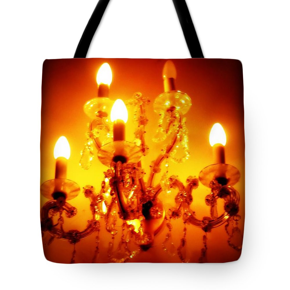 Dining Room Decor Tote Bag featuring the photograph Glowing Chandelier--Companion Piece by Carol Groenen
