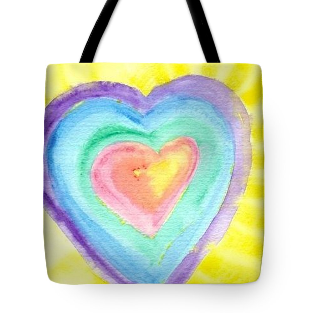 Glowing Heart Tote Bag featuring the painting Glowing Heart by Peggy Ann Serena Hemmer
