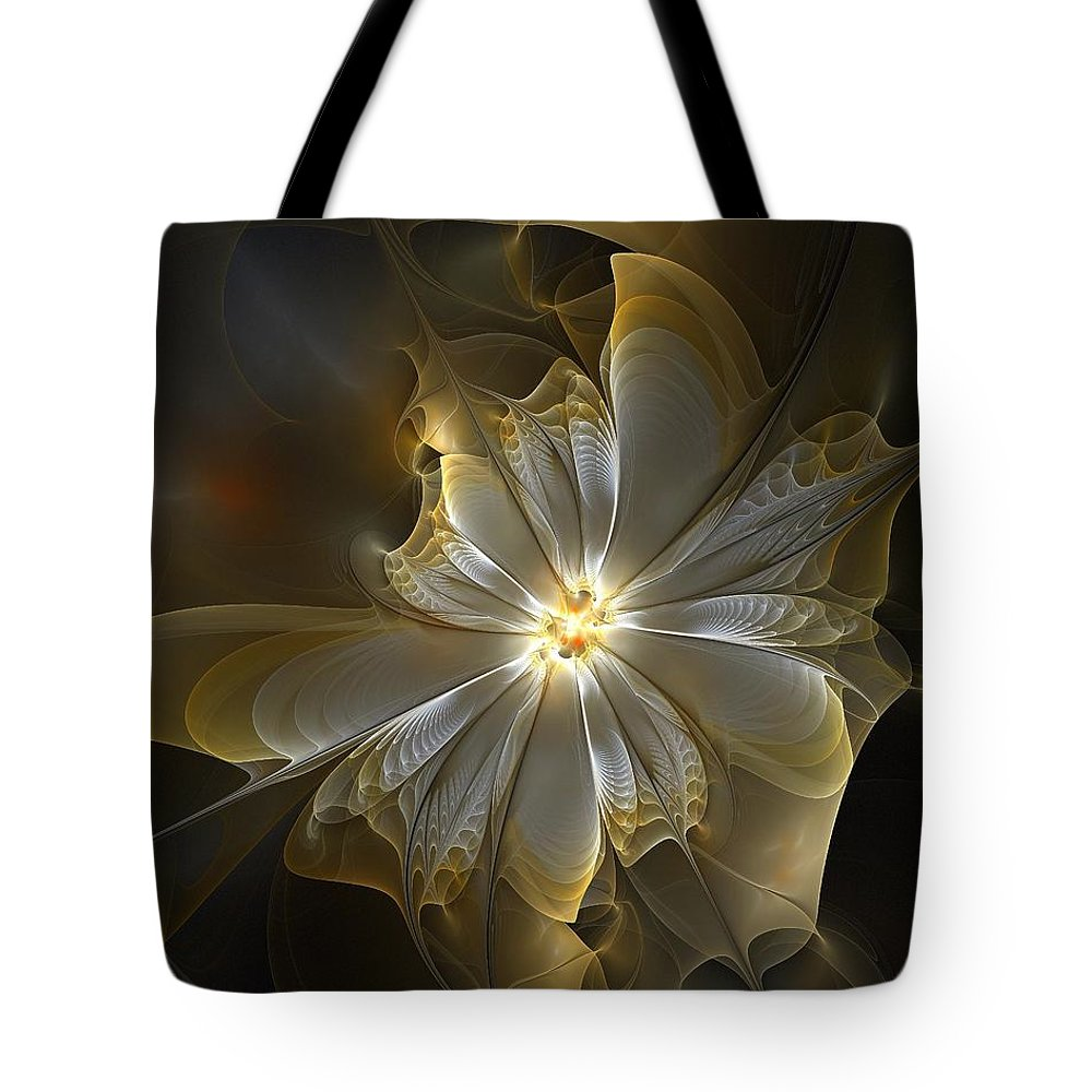 Digital Art Tote Bag featuring the digital art Glowing In Silver And Gold by Amanda Moore