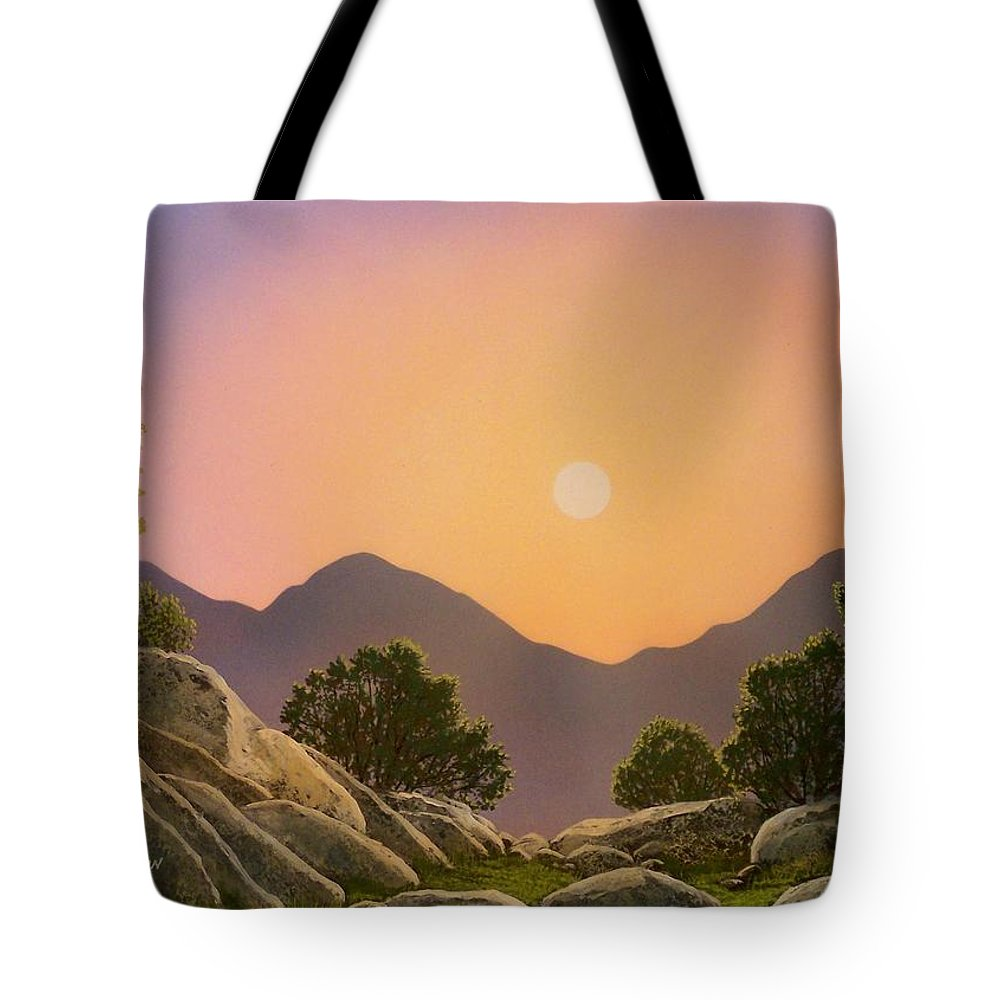 Mountains Tote Bag featuring the painting Glowing Landscape by Frank Wilson