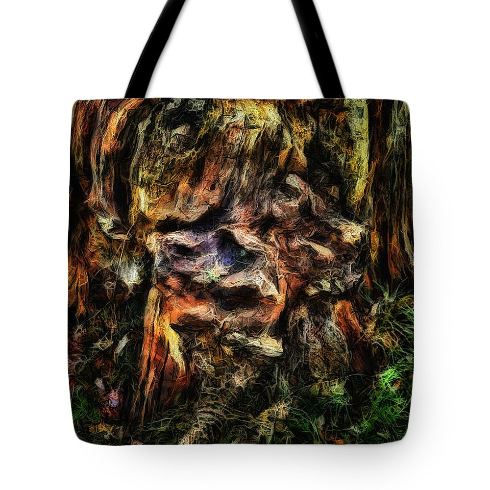 Tree Trunk Tote Bag featuring the digital art Gnarled by Leigh Kemp
