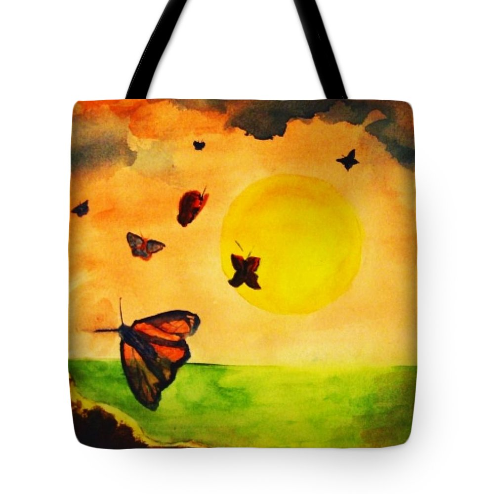 Gnome Tote Bag featuring the painting Gnome And Seven Butterflies by Andrew Gillette