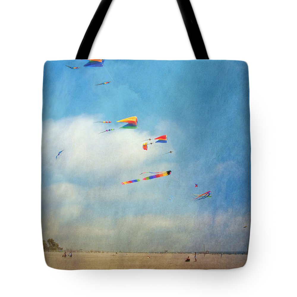 Go Fly A Kite Sand Windy Day Beach Tote Bag featuring the photograph Go Fly A Kite by David Zanzinger
