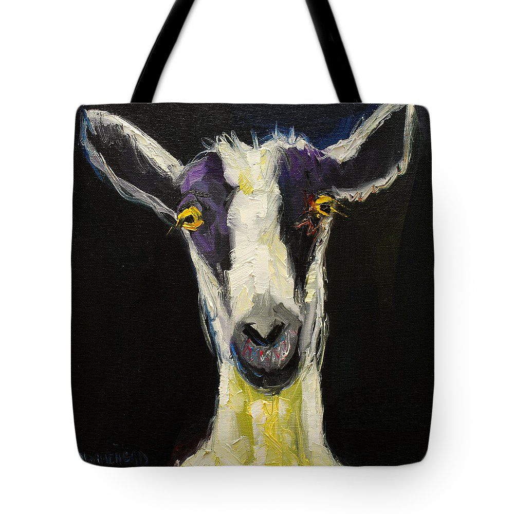 Goat Tote Bag featuring the painting Goat Gloat by Diane Whitehead