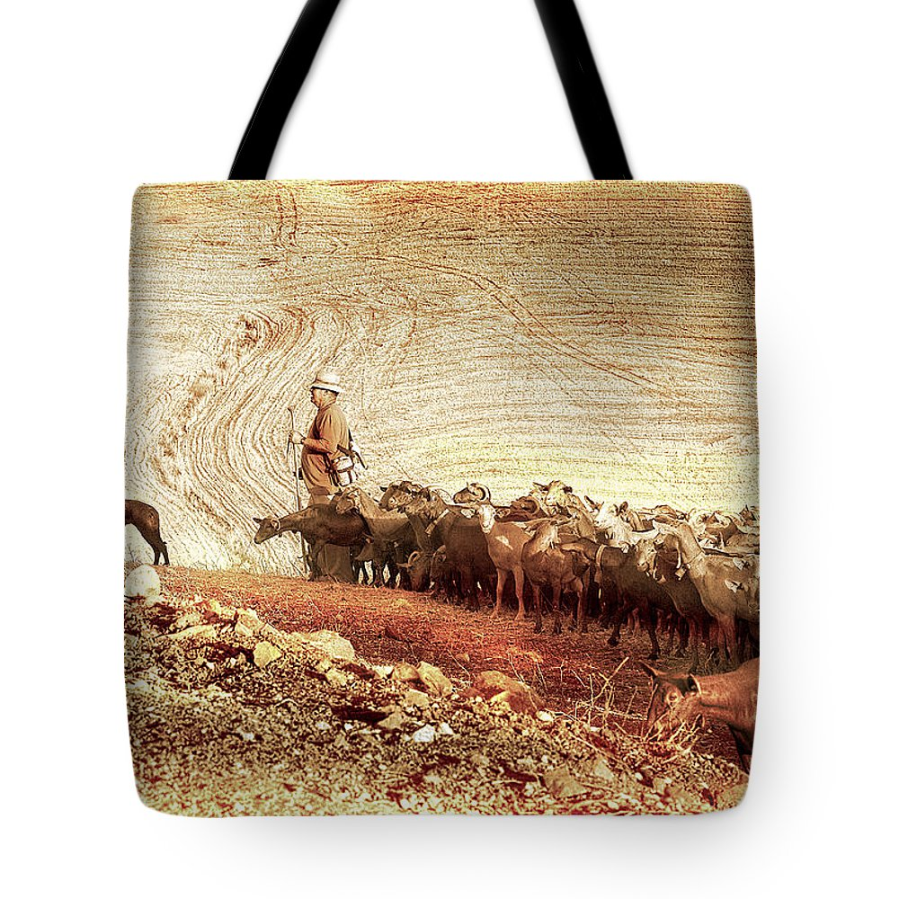 Goats Tote Bag featuring the photograph Goatherd by Mal Bray