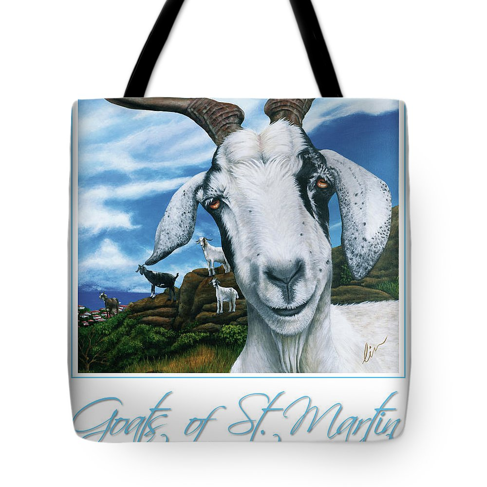 St. Maarten Tote Bag featuring the painting Goats Of St. Maarten- Andre by Cindy D Chinn