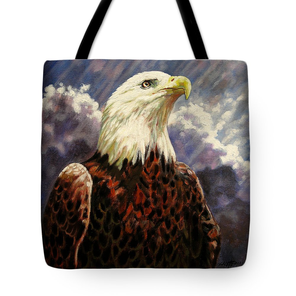 American Bald Eagle Tote Bag featuring the painting God Bless America by John Lautermilch