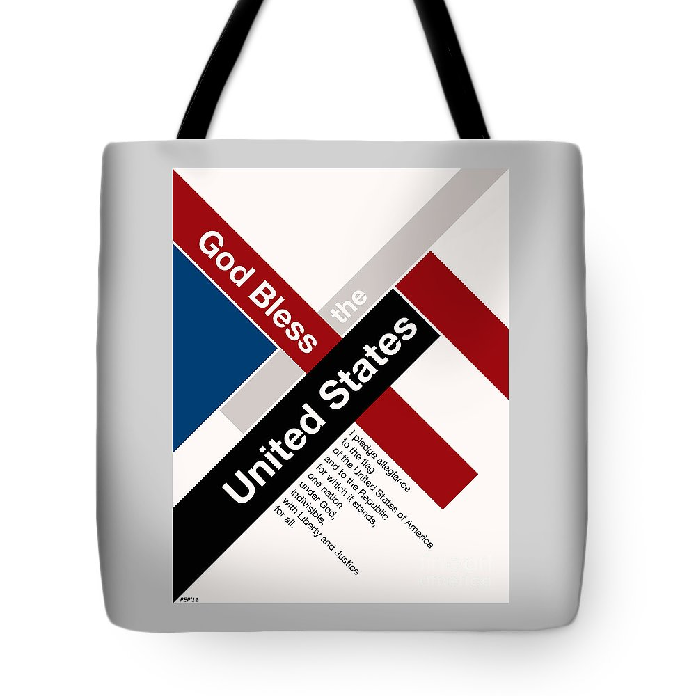 Graphic Design Tote Bag featuring the digital art God Bless The United States by Phil Perkins