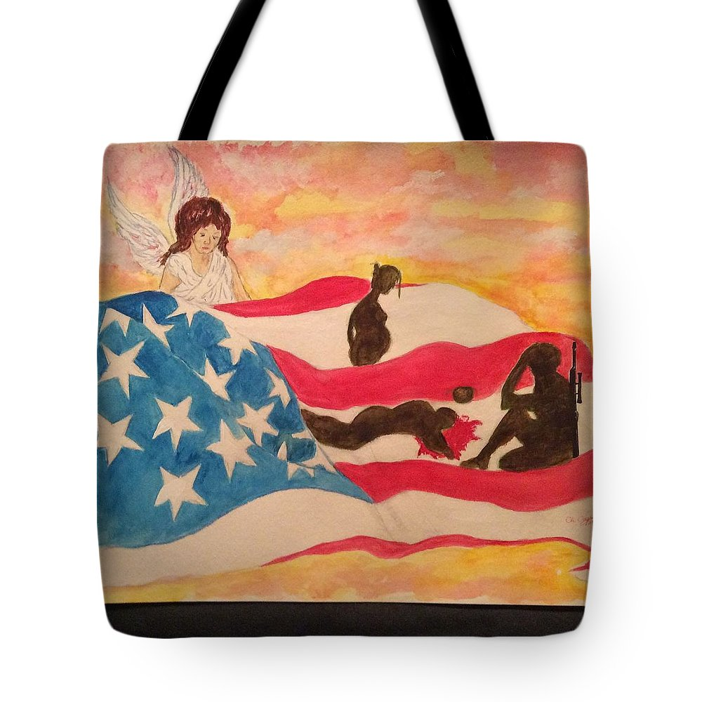 Angel Tote Bag featuring the painting God Bless Us All by Joseph Chapman