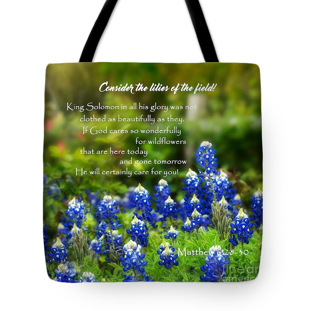 Inspirational Tote Bag featuring the photograph God Cares For You Squared by TK Goforth