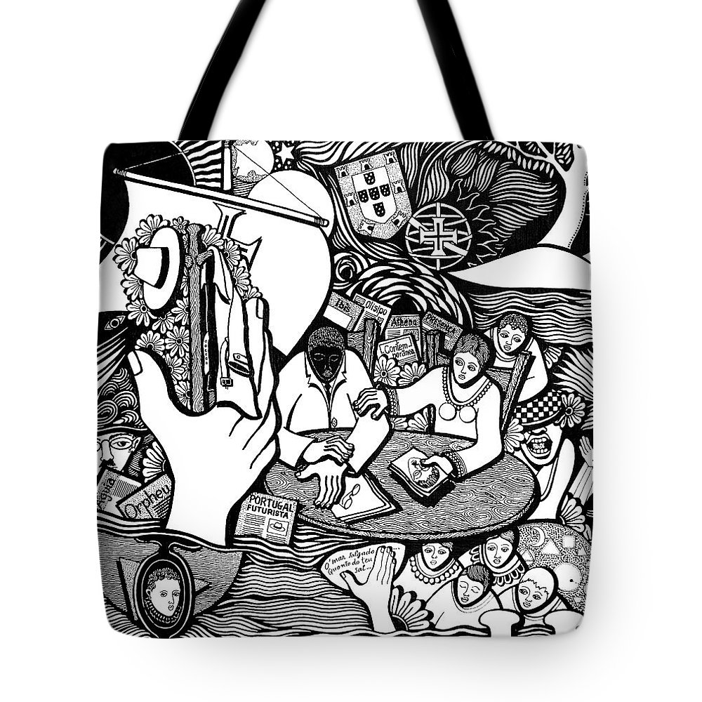 Drawing Tote Bag featuring the drawing God Wills Man Dreams The Work Is Born by Jose Alberto Gomes Pereira