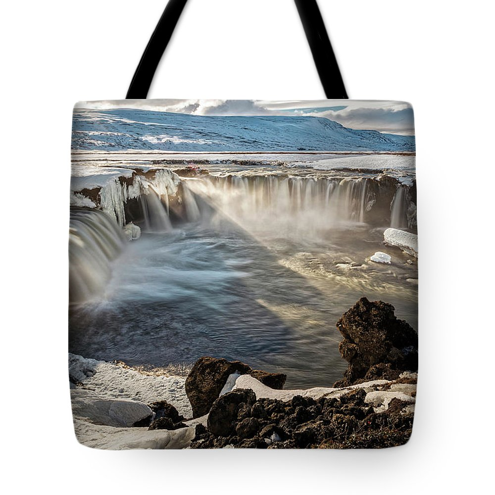 Waterfall Tote Bag featuring the photograph Godafoss Waterfall by Davide Gennari