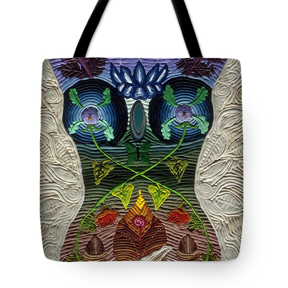 Body Art Tote Bag featuring the relief Godbody by Arla Patch