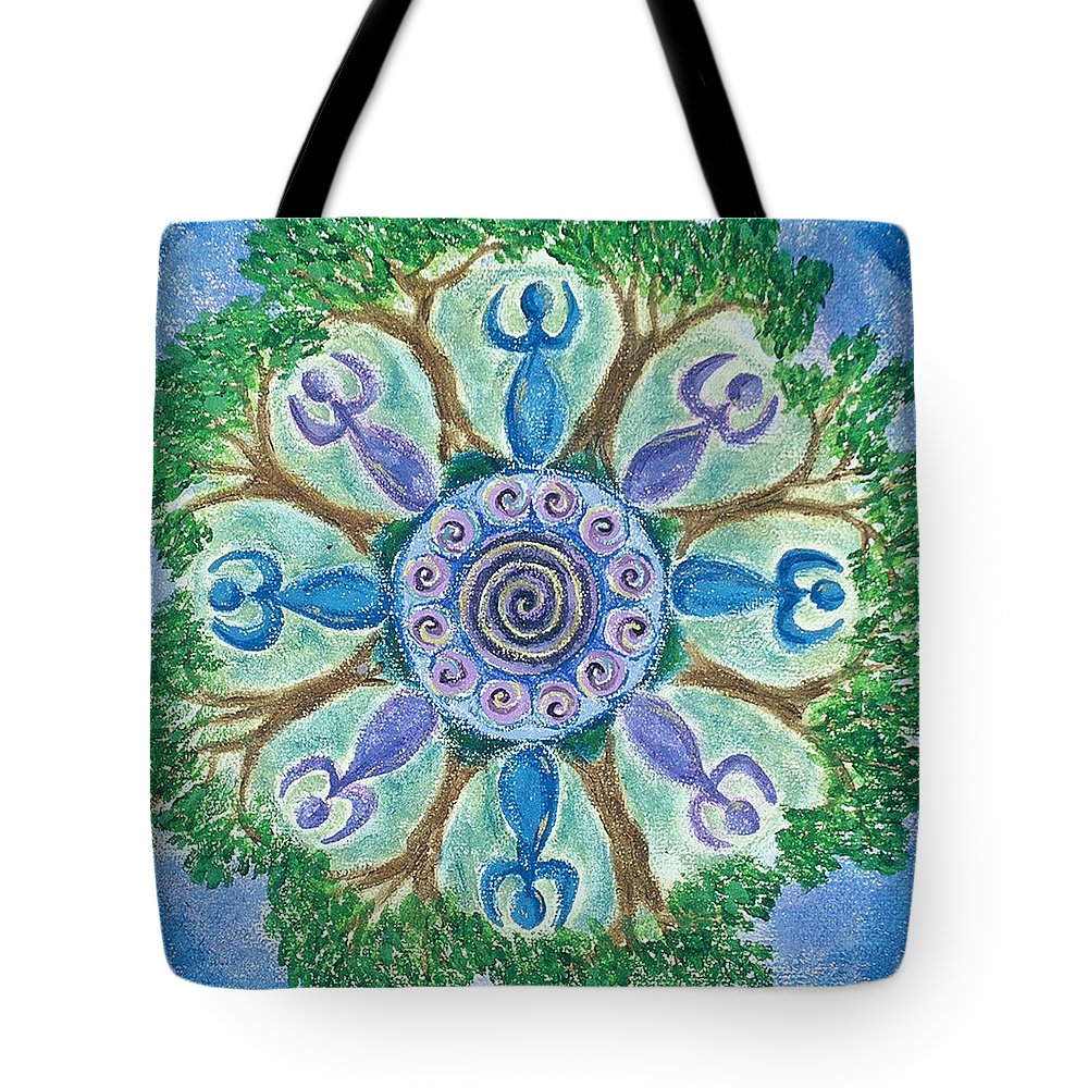 Goddess Tote Bag featuring the painting Goddesses Dancing by Charlotte Backman